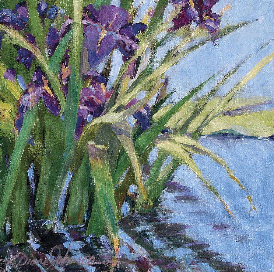 Lily Pad Painting - Sun Day - Iris In A Pond by L Diane Johnson