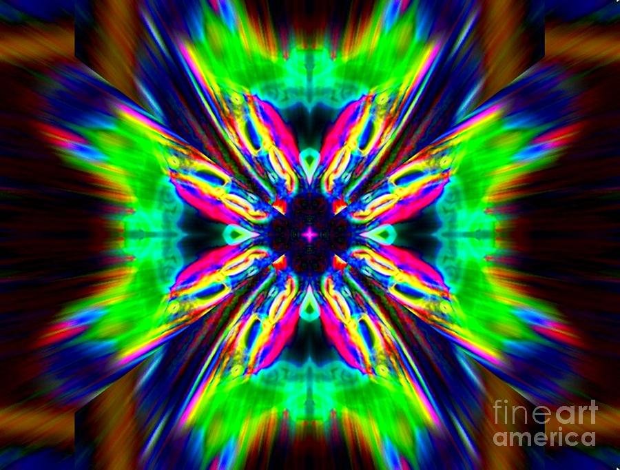 Abstract Digital Art - Sun Flower by Lorles Lifestyles
