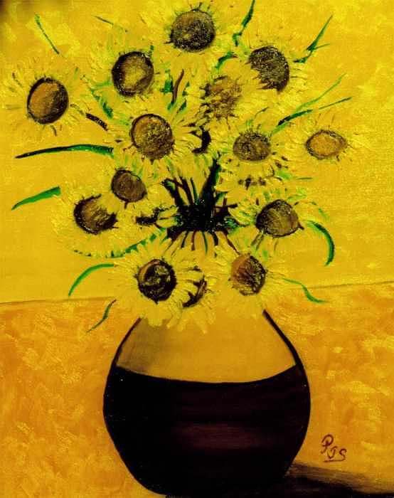 Sun Flower Two Painting by Paul james  Schumann