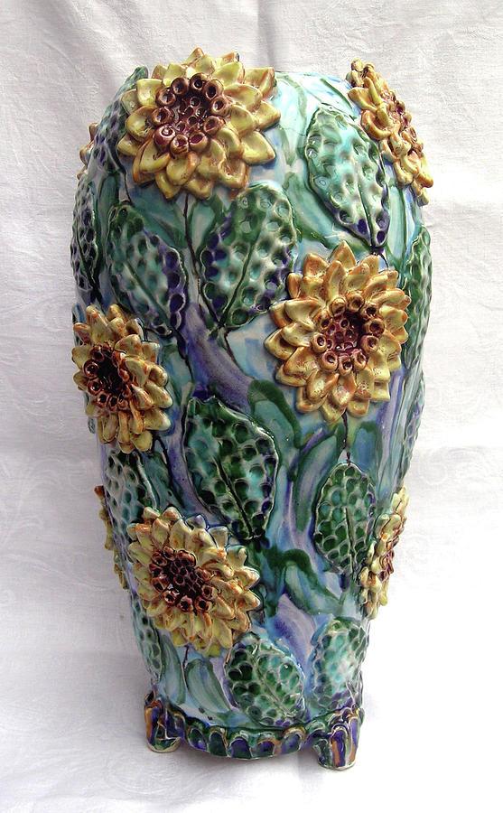 Sun Flower Vase Ceramic Art By Renee Kilburn