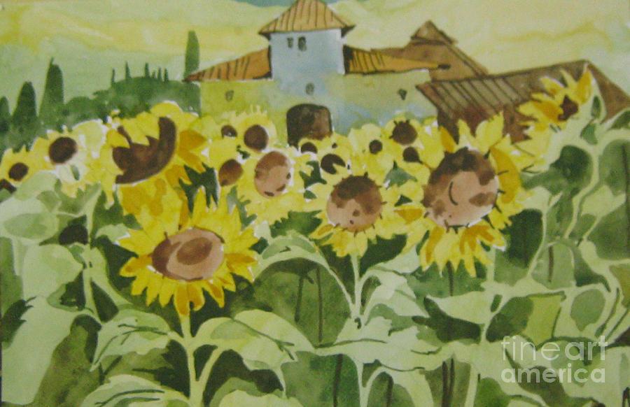 Sun Flowers Painting - Sun Flowers by Akhilkrishna Jayanth