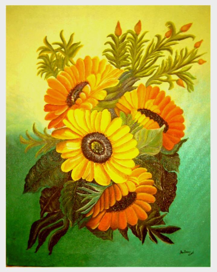 Sun Flowers Painting by Analua Zoe