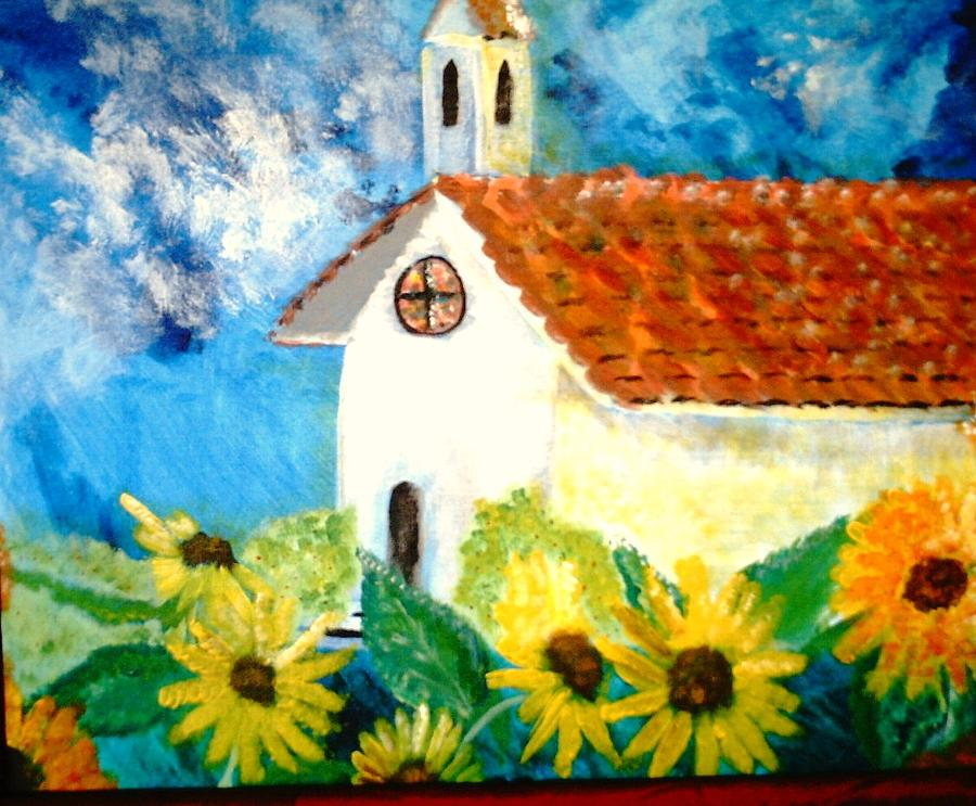 Church Painting - Sun Flowers Dance At San Marin by J Bauer