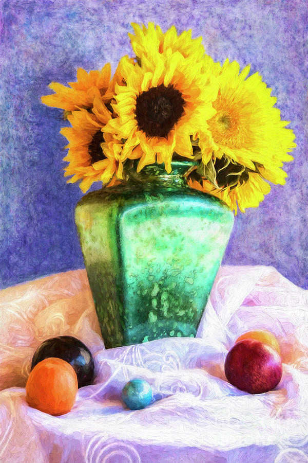 Sun Flowers In A Vase by Sandra Selle Rodriguez