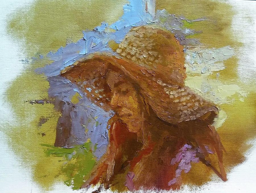 Woman Painting - Sun Hat #1 by Brian Kardell