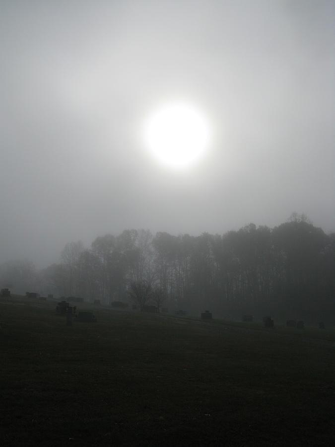 Sun Photograph - Sun In Fog Over Cemetery by Richard Singleton