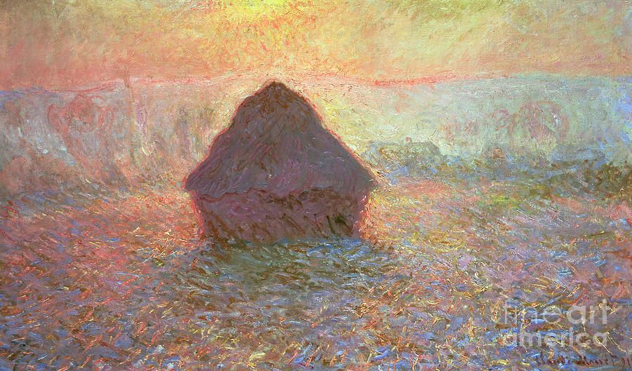 Grainstack Painting - Sun In The Mist by Claude Monet