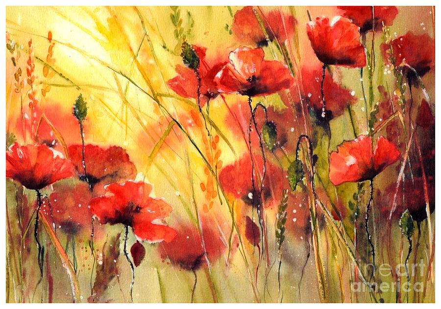 Red Painting - Sun kissed poppies by Suzann Sines