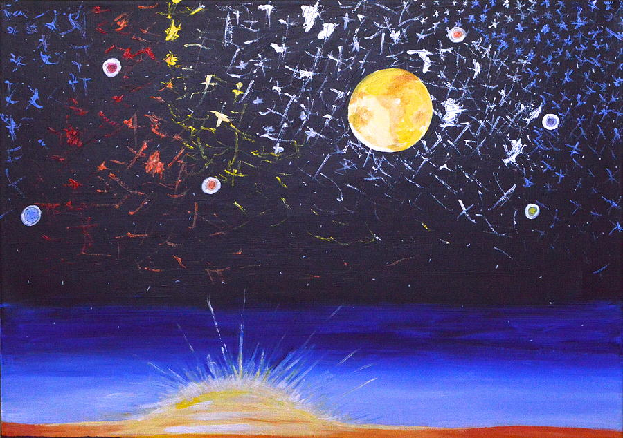 Sun Painting - Sun Moon And Stars by Donna Blossom
