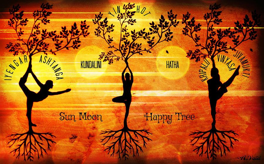 Sun Moon Happy Tree Yoga by Catherine Asoka Void