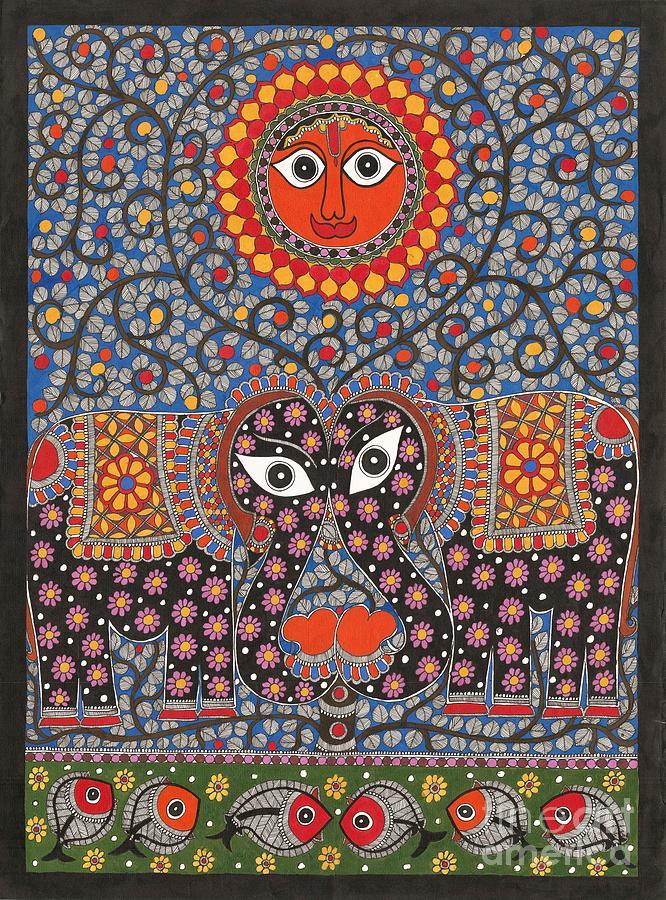 Mithila Painting - Sun  by Neeraj kr Jha