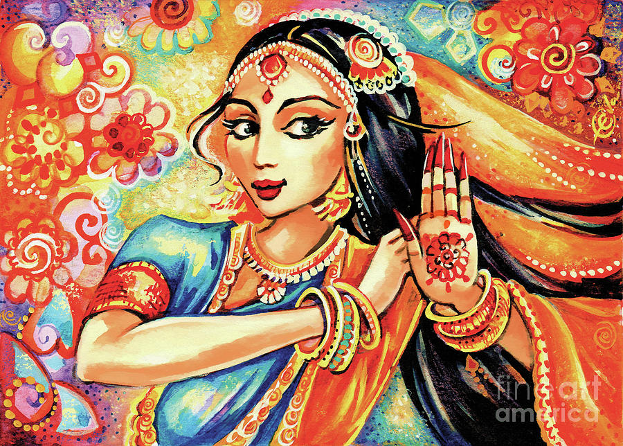 Indian Woman Painting - Sun Ray Dance by Eva Campbell