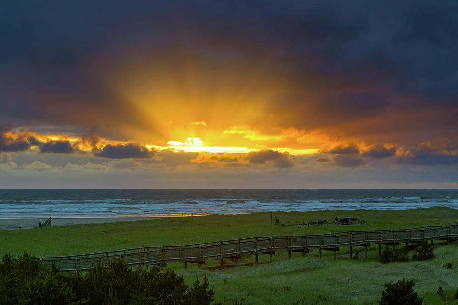 Long Photograph - Sun Rays At Long Beach Washington During Sunset by David Gn