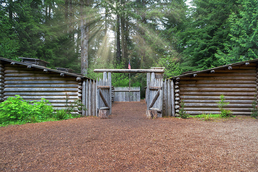Fort Photograph - Sun Rays Over Fort Clatsop by David Gn