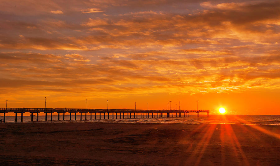 Sun Rising at Port Aransas Pier by Brian Kinney
