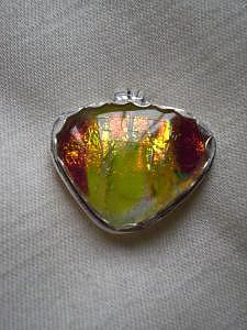 I Think I See A Sunset In This Fused Glass Piece.  Minimal Pmc Bezel Puts The Focus On The Glass. Glass Art - Sun Set In Hawaii Pendent by Kathy St Martin