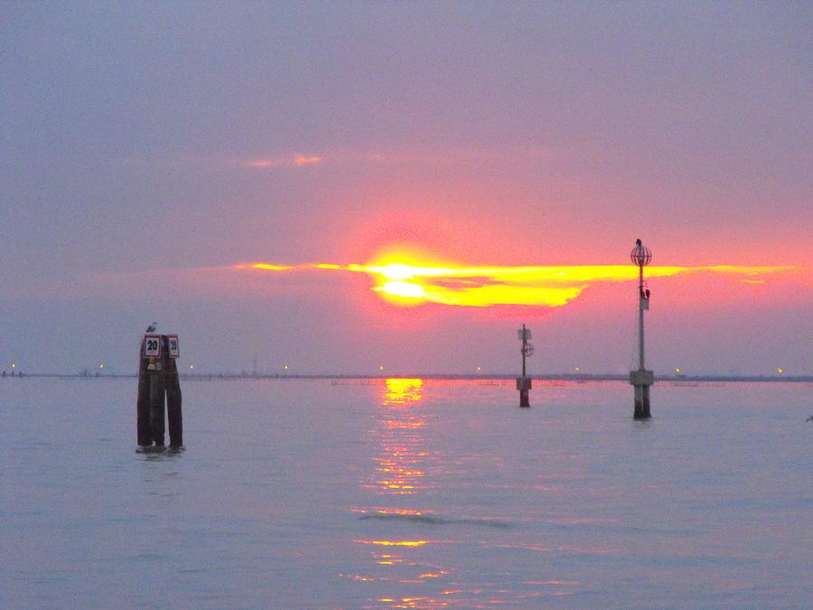 Landscape Water Photograph - Sun Sets Over Venice II by Viviana Puello Villa