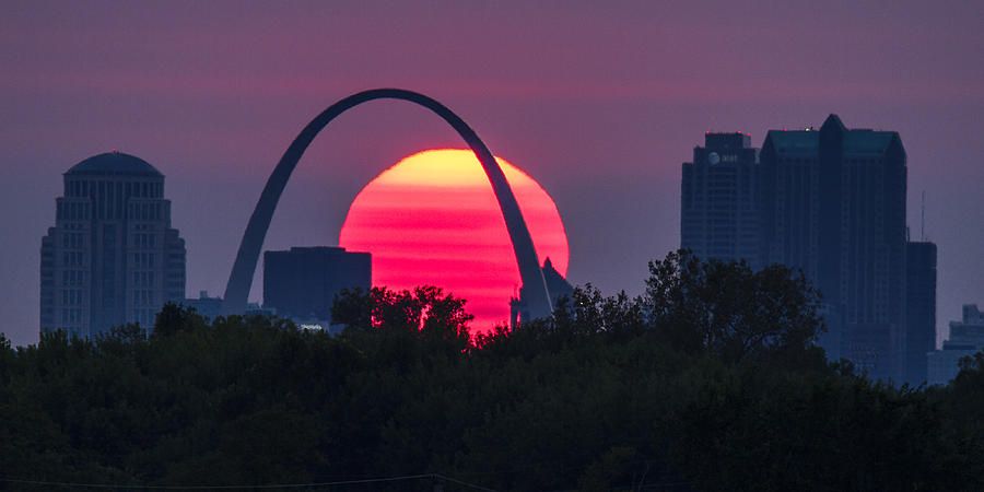 St Louis Arch Photograph - Sun Setting Behind The Arch by Garry McMichael