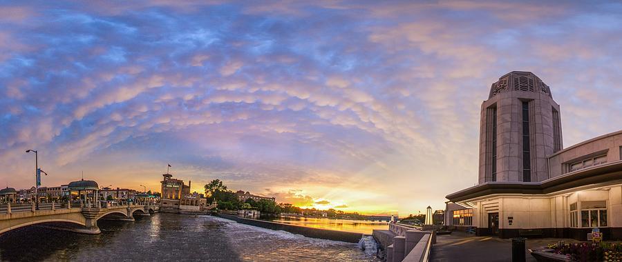 Mammatus Photograph - Sun Setting On Downtown Saint Charles Illinois  by Lorraine Matti