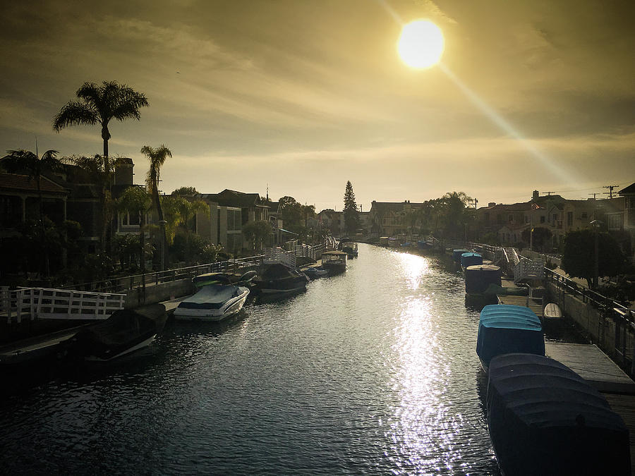 Waterfront Property Photograph - Sun Setting Over Canals Of Naples In Long Beach, Ca by Bradley Hebdon