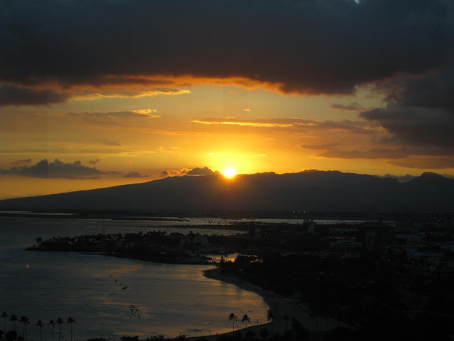 Sunset Photograph - Sun Setting Over Honolulu by Ashley Butler