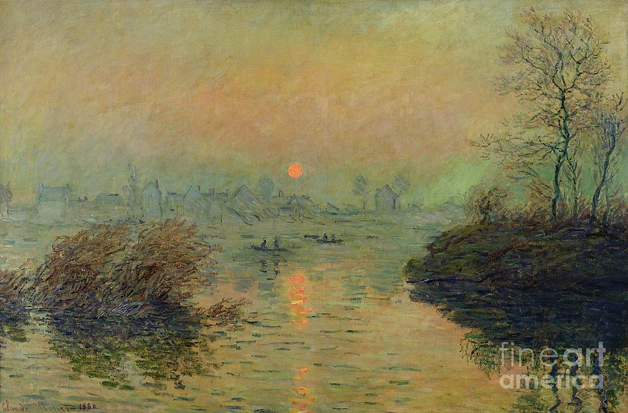 Monet Painting - Sun Setting over the Seine at Lavacourt by Claude Monet