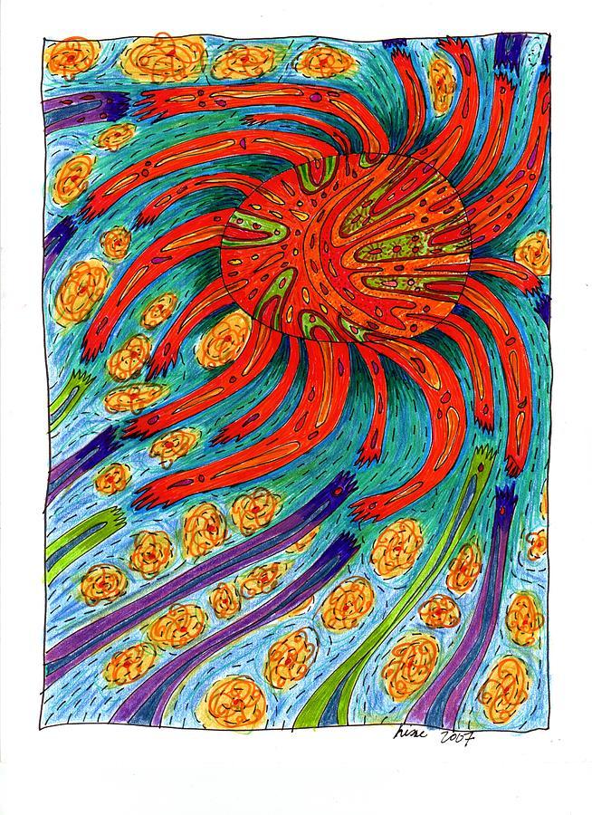 Sun Drawing - Sun by Sharon Nishihara