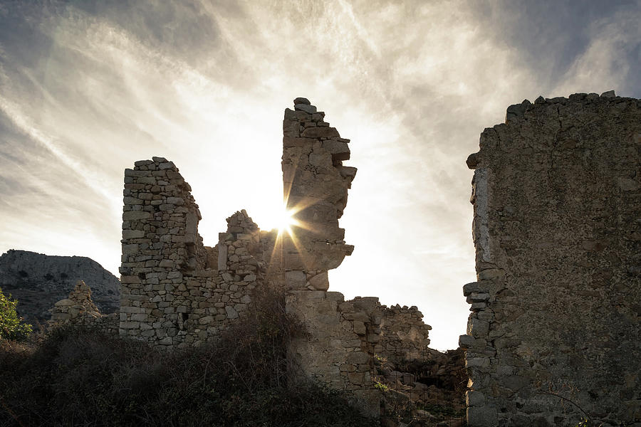 Ancient Photograph - Sun Shining Through A Derelict Building At Occi In Corsica by Jon Ingall