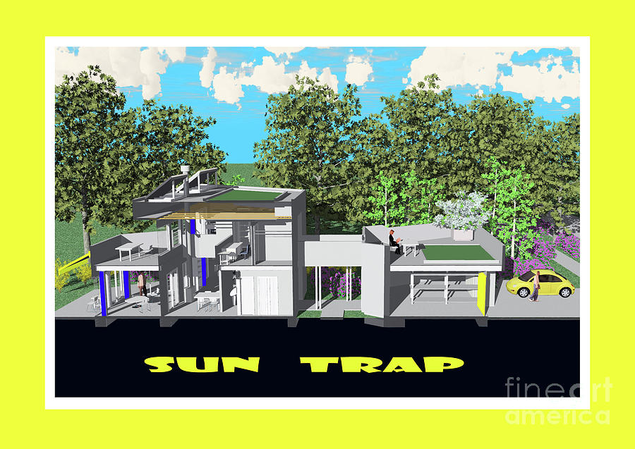 Architect Drawing - Sun Trap Section by Michael Moore