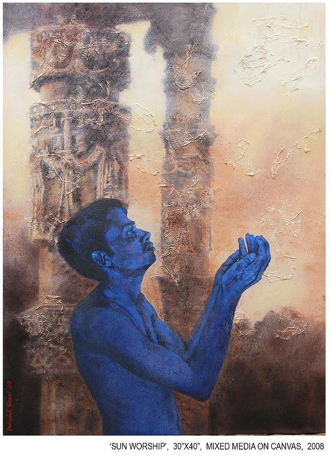 Figurative Painting - Sun Worship by Debasish Garai