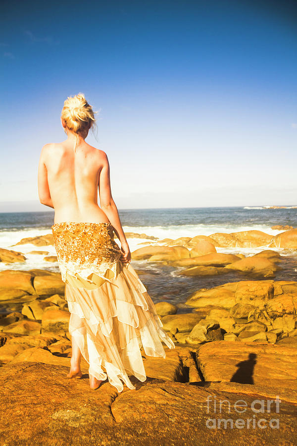 Girl Photograph - Sunbathing By The Sea by Jorgo Photography - Wall Art Gallery