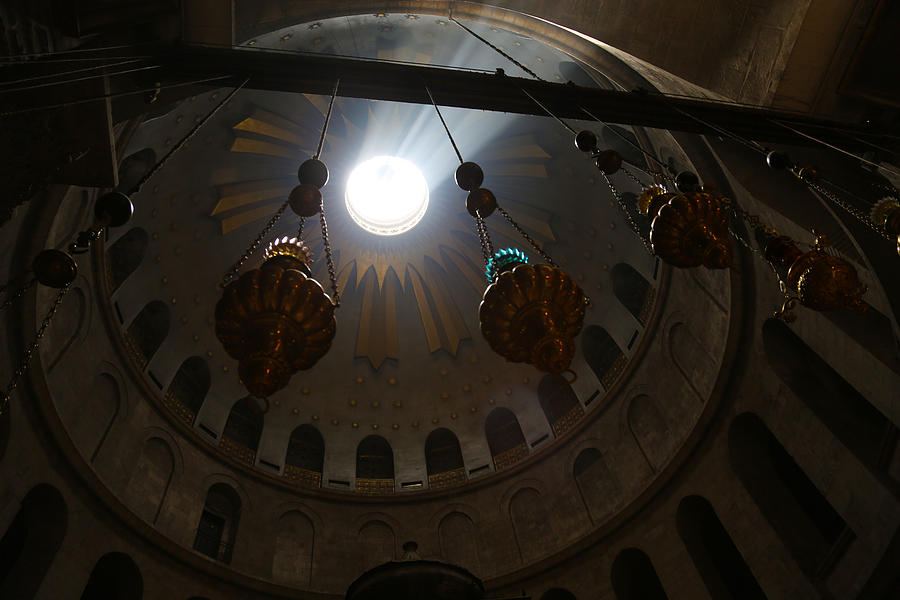 Church Of The Holy Sepulchre Photograph - Sunbeams At The Church Of The Holy Sepulchre by Heidi Pix