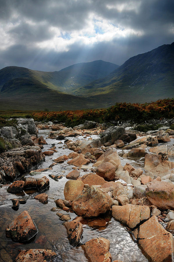 Sunbeams Photograph - Sunbeams, Glencoe, Scotland by David Stanley