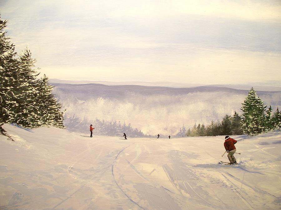 sunbowl at Stratton Mountain Vermont Painting by Ken Ahlering