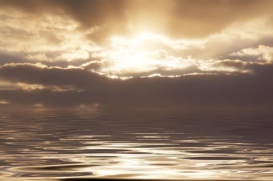 Sunrise Photograph - Sunburst Over Water by Bill Cannon