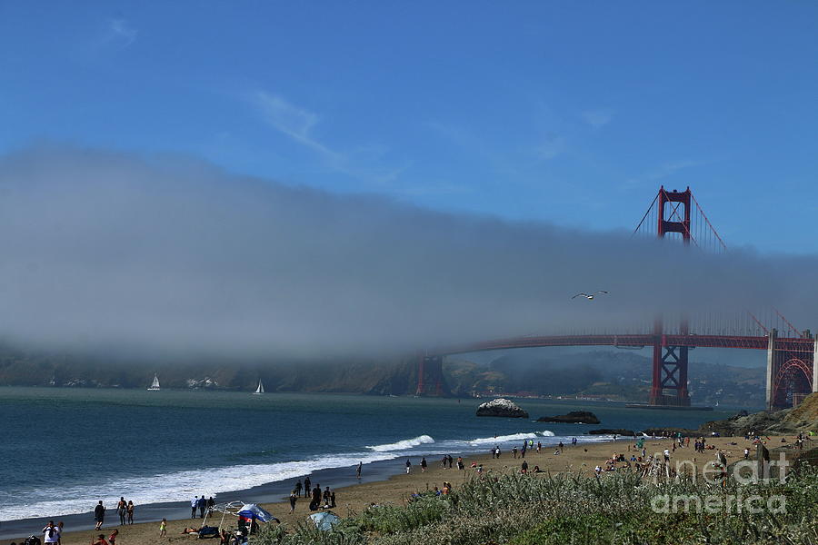 Suspension Bridge Photograph - Sunday Afternoon At Golden Gate Bridge Beach by Christiane Schulze Art And Photography