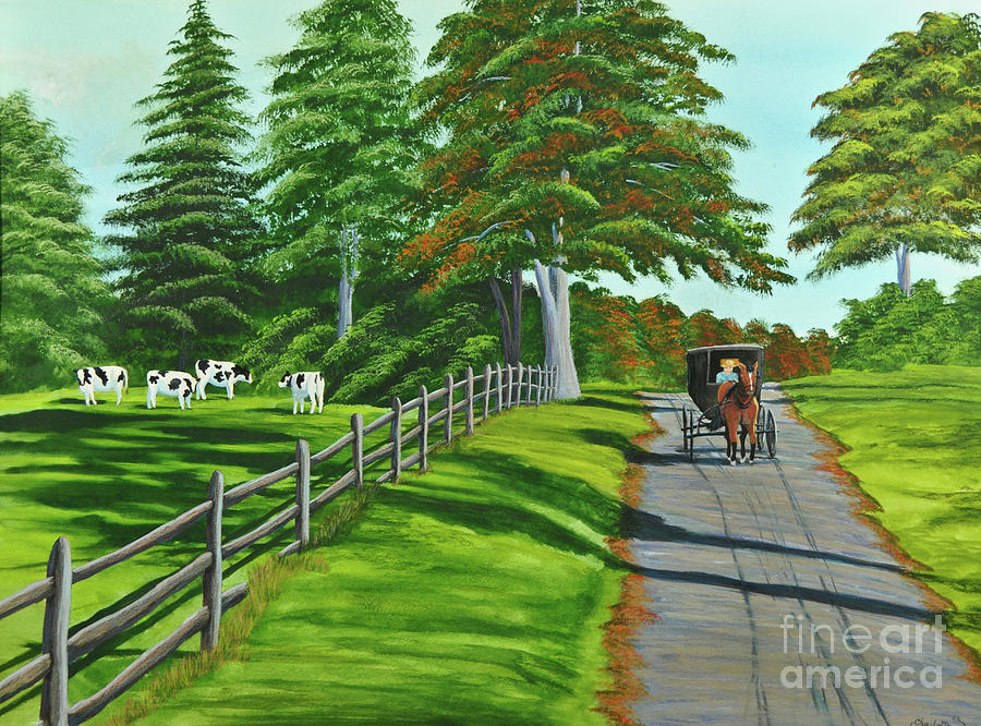 Cows Painting - Sunday Drive by Charlotte Blanchard