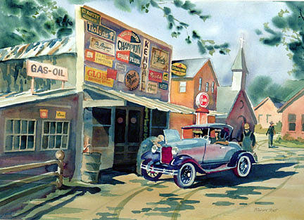 Street Scene Painting - Sunday Drive by Richard Staat
