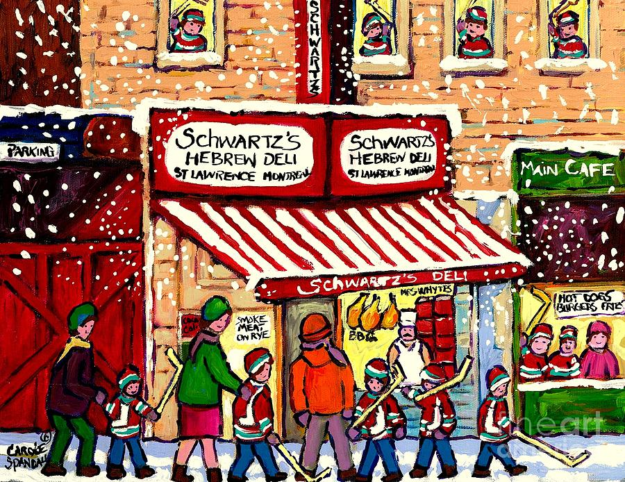 Montreal Painting - Sunday Lineup at the Deli by Carole Spandau