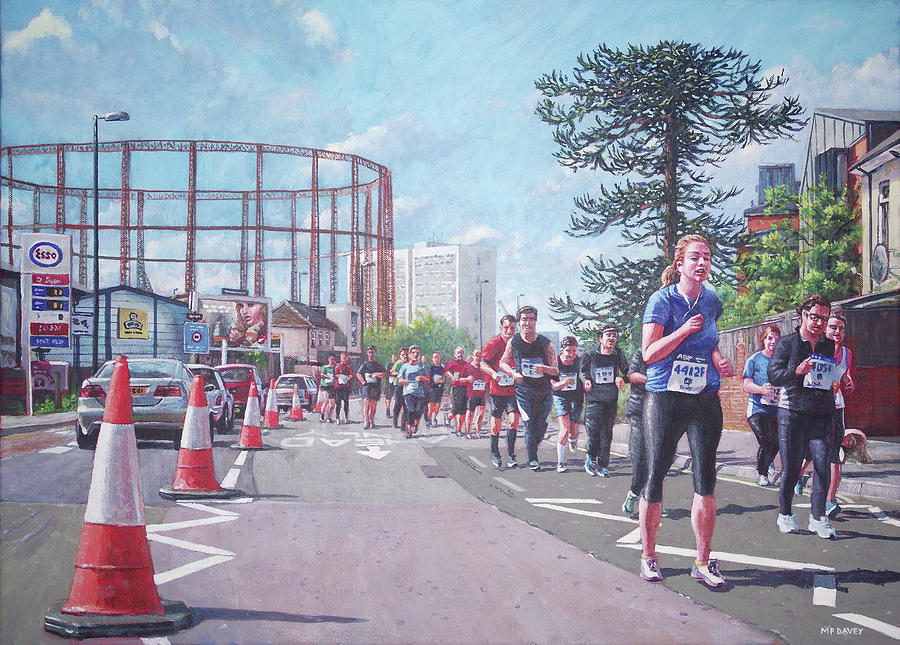 Sport Painting - Sunday Morning Abp Marathon. Northam, Southampton  by Martin Davey