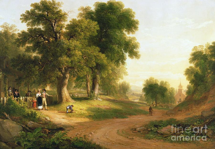 Going To Church; Churchgoer; Outing; Landscape; Sunday Best; Family; Congregation; Parishioner; Rural; Hudson River School; Painting - Sunday Morning by Asher Brown Durand