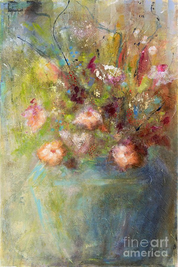 Abstract Flowers Painting - Sunday Morning by Frances Marino