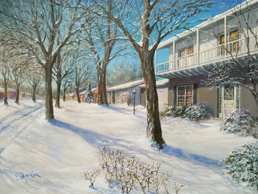Snow Scene Painting - Sunday Morning Snow by Edward Farber