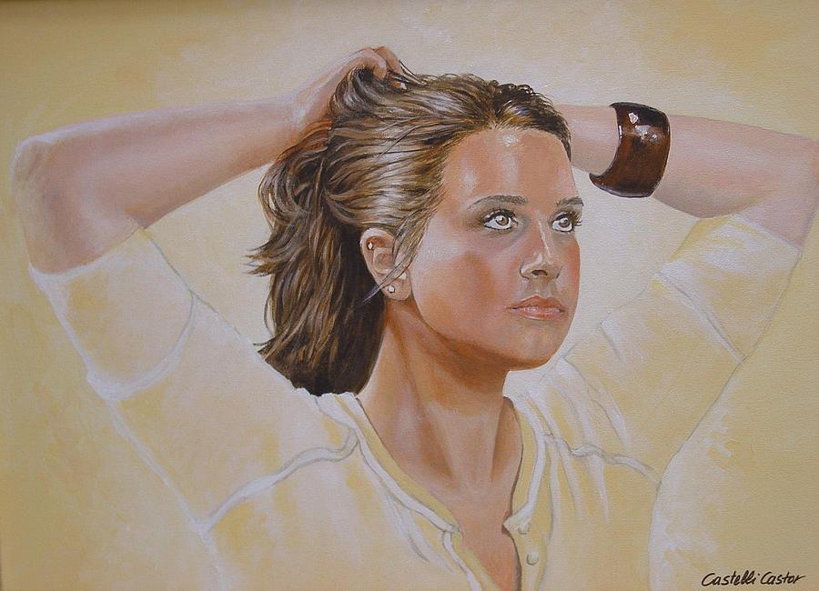 Portrait Painting - Sunday Morning Workout by JoAnne Castelli-Castor