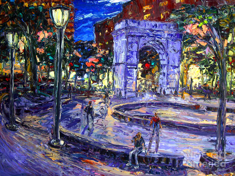 New York City Painting - Sunday Night In Washington Square Park by Arthur  Robins