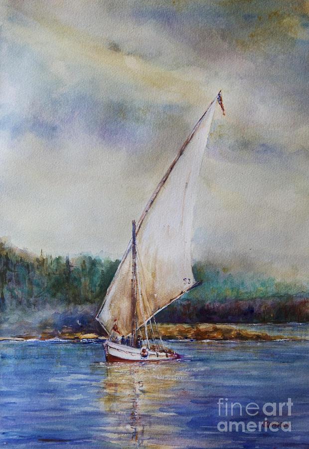Sailing Pastel - Sunday Sail by Joyce A Guariglia