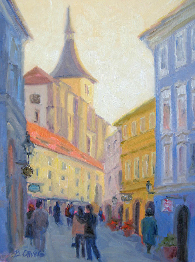 Prague Painting - Sunday Stroll - Prague by Bunny Oliver