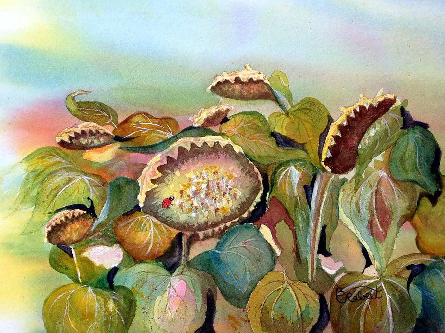 Watercolor Painting - Sundown Flowers by Bonnie Rabert