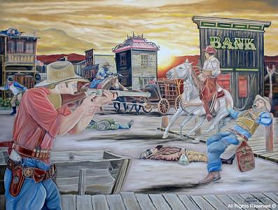 Cowboys Painting - Sundown Heist by Armando Bettencourt