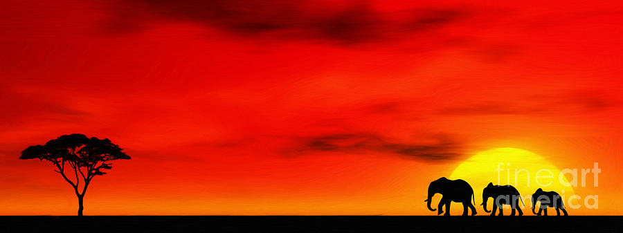 Elephant Group Digital Art - Sundown by John Edwards